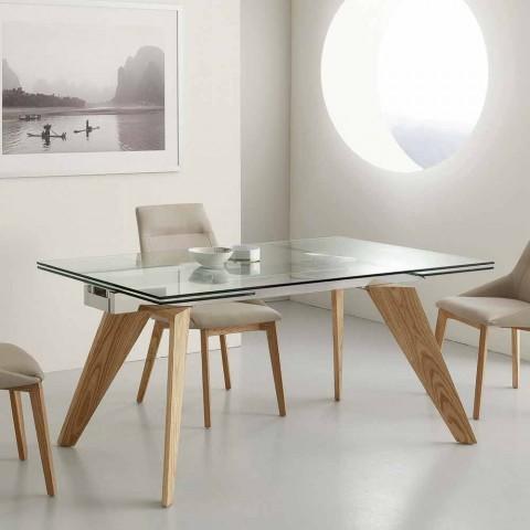Table extensible Michigan en verre, inox et bois massif