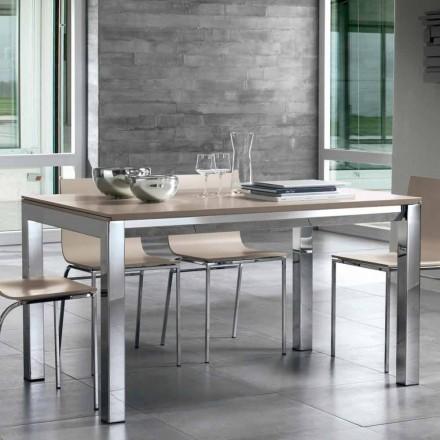 Table extensible en bois de noyer Tanganika, bandes latérales et base en métal - Ketla