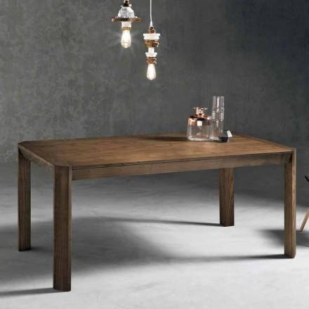 Table extensible moderne avec pieds trapézoïdaux en bois de frêne, Parre