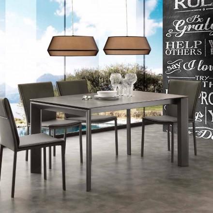 Table à rallonge de design Filadelfia, avec plateau en verre-céramique