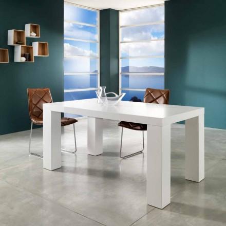 Table de salle à manger extensible blanc mat Demy, de design moderne