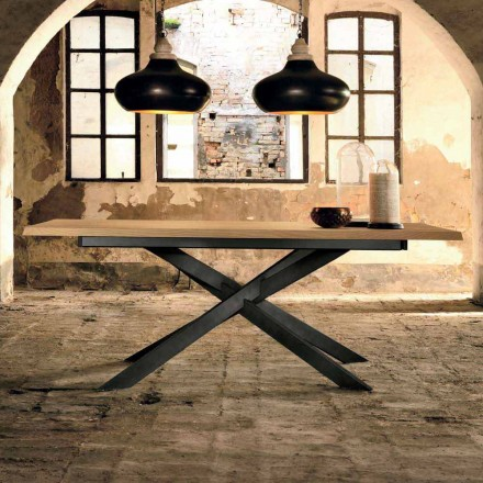 Table à rallonge design en bois de chêne fabriqué en Italie, Oncino