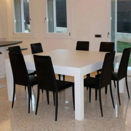 Table à rallonge moderne en bois de chêne massif, 160x160cm, Jacob