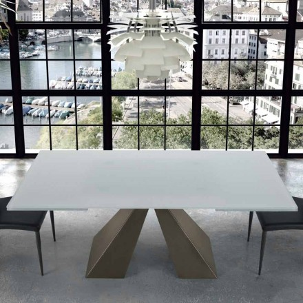 Table Extensible Moderne en Verre et Acier 14 Places made in Italy – Dalmata