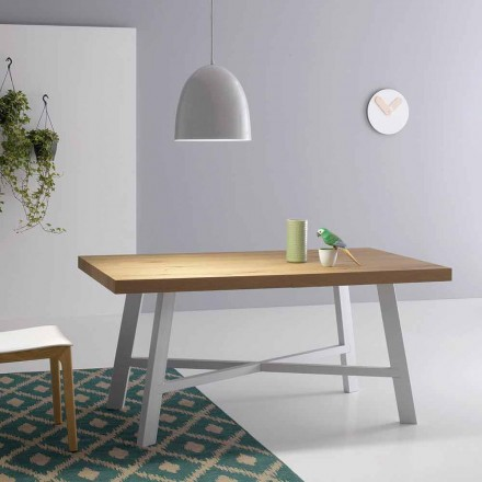 Table extensible moderne, surface en bois massif - Tricerro