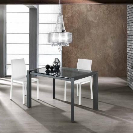 Table extensible en verre trempé gris et métal Zeno, design moderne