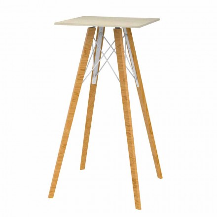 Table haute de bar carrée en bois et effet marbre 4 pièces - Faz Wood - Vondom
