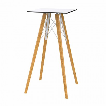 Table haute de bar design carrée en bois et Hpl, 4 pièces - Faz Wood - Vondom