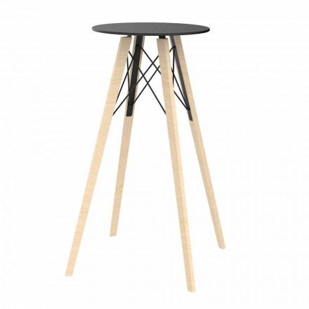 Table Haute Bar Design Ronde en Bois et Hpl, 4 Pièces - Faz Wood - Vondom