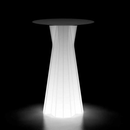 Table haute d'extérieur avec base lumineuse et plateau en Hpl Made in Italy - Tinuccia