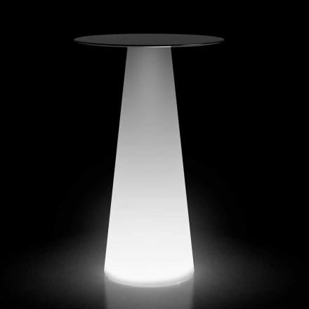 Table haute d'extérieur avec éclairage LED en HPL et polyéthylène Made in Italy - Forlina
