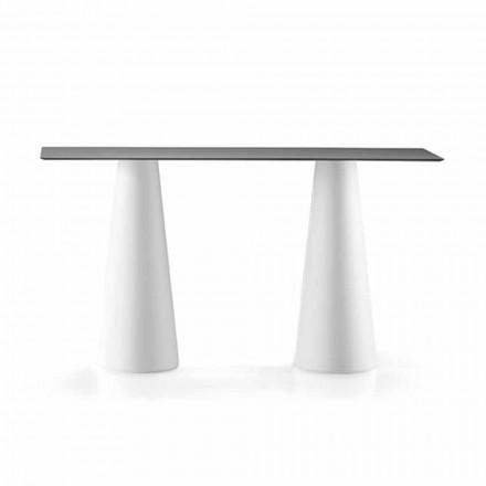 Table haute d'extérieur avec plateau rectangulaire en Hpl Made in Italy - Forlina