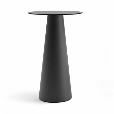 Table haute d'extérieur avec plateau rond en Hpl Made in Italy - Forlina