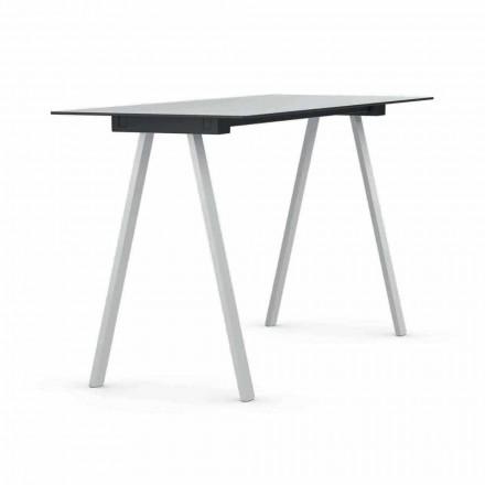 Table haute d'extérieur en métal et HPL rectangulaire Made in Italy - Devin