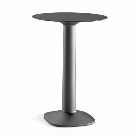 Table haute ronde en polyéthylène avec plateau en Hpl Made in Italy - Pito