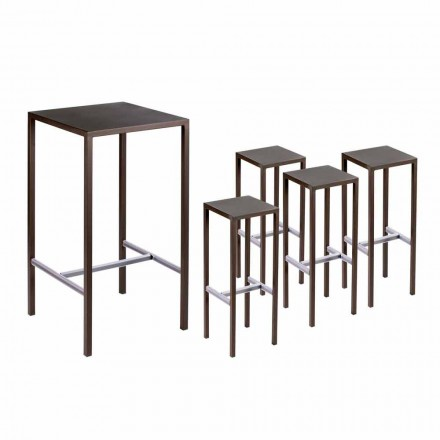 Table de bar avec 4 tabourets d'extérieur en métal peint Made in Italy - Fada