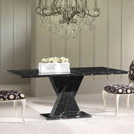 Table en marbre noir de design classique avec base à croix Byron