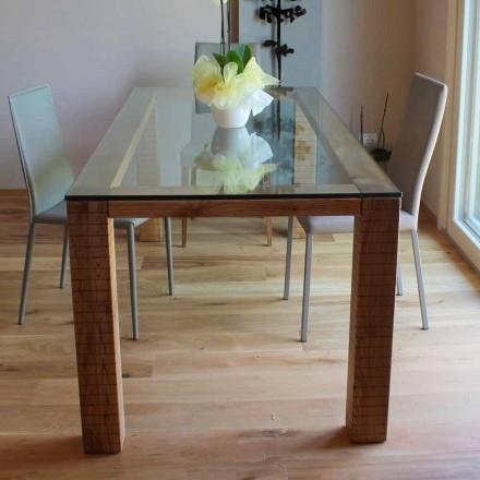 Table avec Plateau en Cristal et Bois de Frêne Modero Made in Italy - Asella