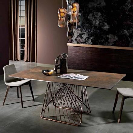 Table avec plateau en vitrocéramique moderne made in Italy, Mitia