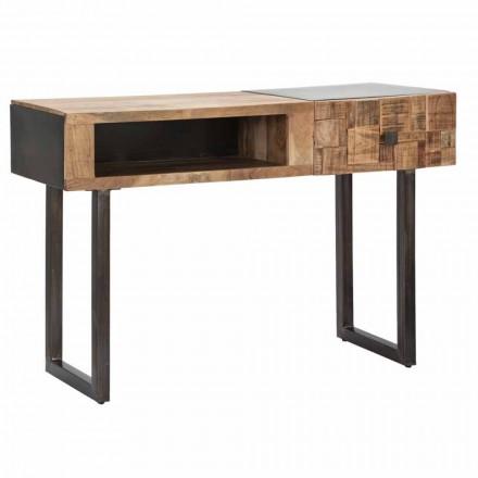 Table console en fer et bois d'acacia avec tiroir design - Dena