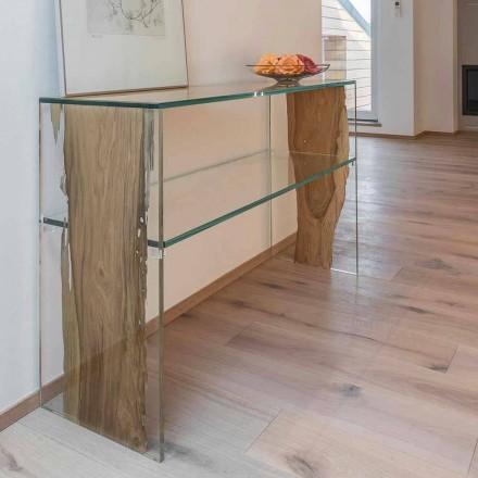 Table console en bois de Briccola de Venise et verre Fenice Continuo