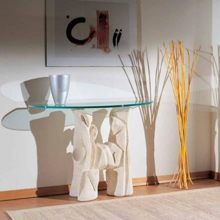 Table console faite à la main en pierre de Vicenza et cristal Dios