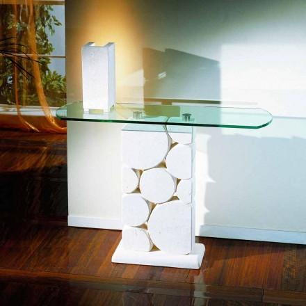 Table console en pierre de Vicenza et cristal Hosios, faite à la main