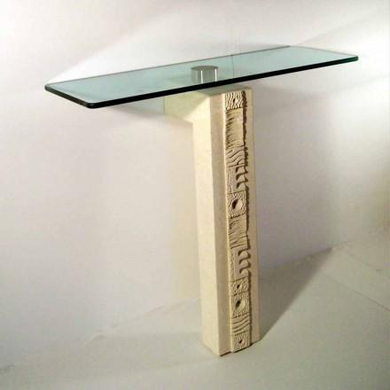 Table console en pierre naturelle de Vicenza et cristal Abidos