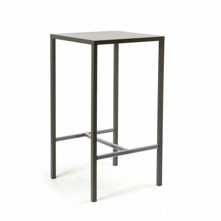 Table de bar carrée extérieure en métal peint fabriquée en Italie - Fada