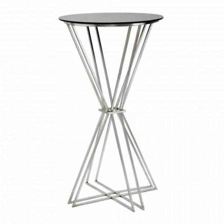 Table de bar ronde de design moderne en fer et verre - Benita