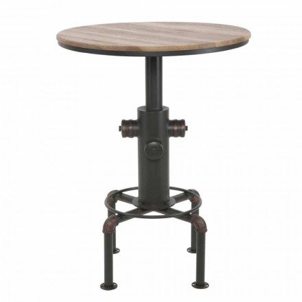 Table de bar ronde de style industriel en fer et bois design - Niv