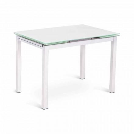 Table extensible au design moderne jusqu'à 200 cm en verre et métal - Tampon