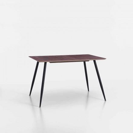 Table de cuisine design moderne en MDF et métal noir mat - Foulard