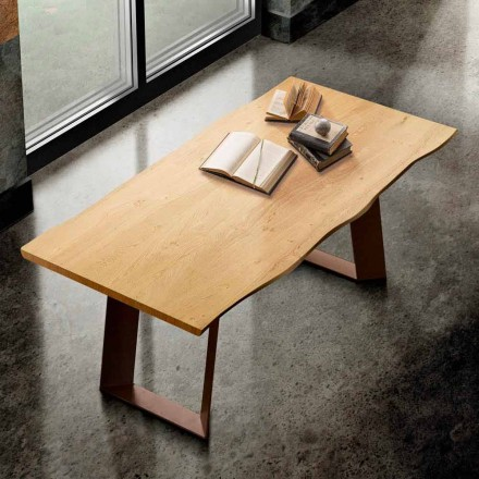 Table de cuisine en bois massif et en métal made in Italy, Flora