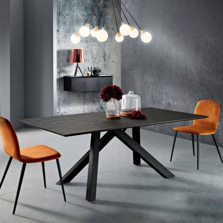 Table de cuisine en bois MDF et en métal fait en Italie, Wilmer