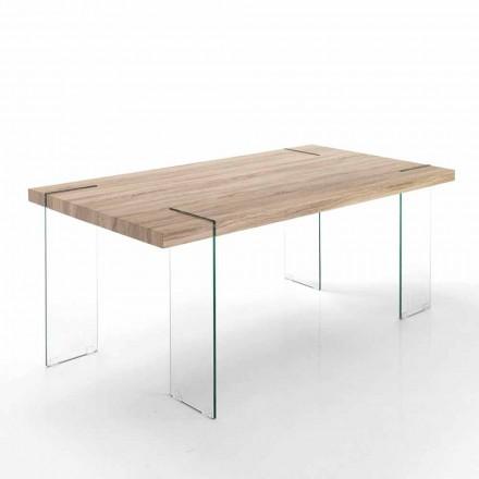 Table de Cuisine Moderne plateau en Mdf et Base en Verre - Joey