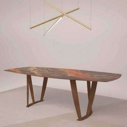 Table rectangulaire de luxe en marbre Ombra par Caravaggio et métal - Naruto