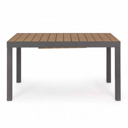 Table d'extérieur extensible jusqu'à 200 cm avec plateau en teck - Finition Bobel