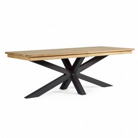Table d'extérieur extensible jusqu'à 300 cm en teck, Homemotion - Selenia