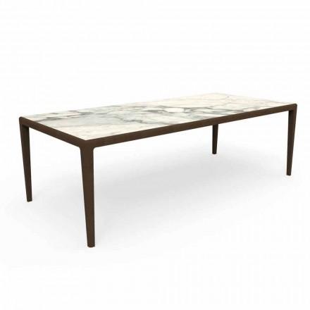 Table d'extérieur design en bois de teck et grès Capraia - Cruise Teak Talenti