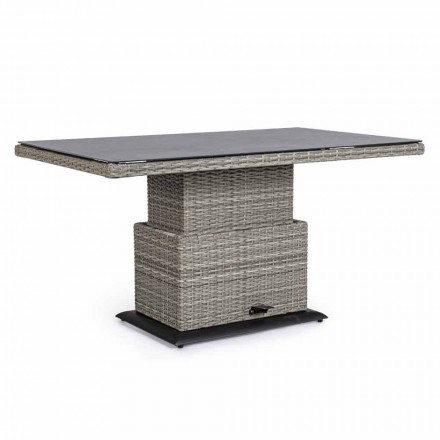 Table d'extérieur en céramique et fibre synthétique, hauteur réglable - Claire