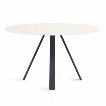 Table d'extérieur ronde en métal et HPL Made in Italy - Conrad
