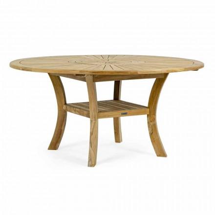 Table d'extérieur en teck avec plateau central pivotant, Homemotion - Dimitris