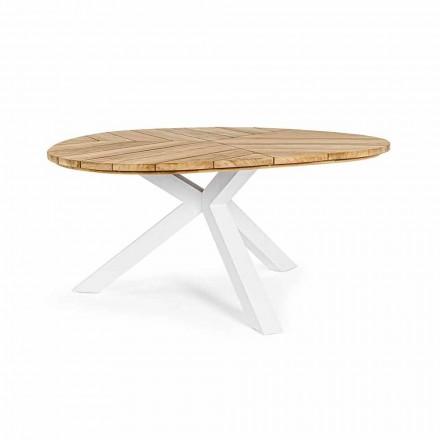 Table d'extérieur ronde en teck avec base en aluminium, Homemotion - Selenia