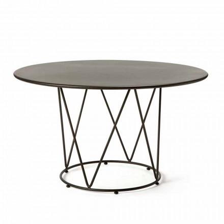 Table d'extérieur ronde moderne en métal peint Made in Italy - Ibra