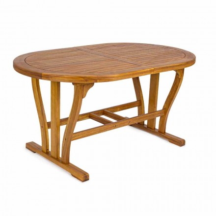 Table de jardin extensible jusqu'à 200 cm ovale en bois - Roxen