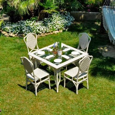 Table de jardin de design moderne avec plateau en verre Romeo