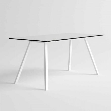 Table de jardin en aluminium blanc et stratifié HPL Design moderne - Oceania2
