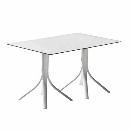 Table de jardin de luxe en aluminium et Hpl blanc ou bronze à canon - Filomena