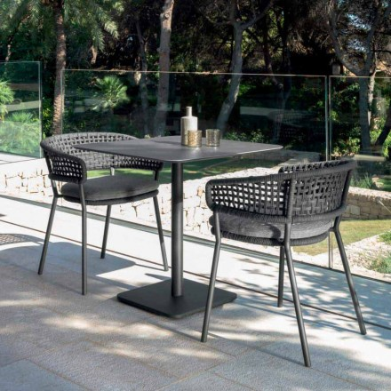 Table de jardin en céramique 80x80 cm, Moon Alu de dedign moderne
